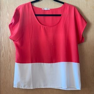 F21 Color Blocked Red and White Shirt